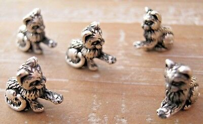 A Wholesale Job Lot 5 x Birmingham Hallmarked Sterling Silver Kitten - Cats