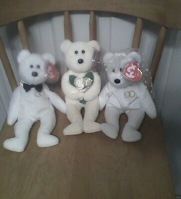 Ty beanie babies Mr., Mrs. & Dear One - wedding - 3 white bear beanies - new