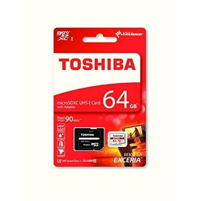 Toshiba Memory Exceria M302 64GB Class 10 MicroSDXC 90 Mbps 4K with SD Adapter