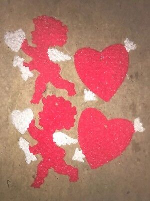Vintage VALENTINES DAY DECOR Melted Plastic Popcorn CUPID and HEARTS