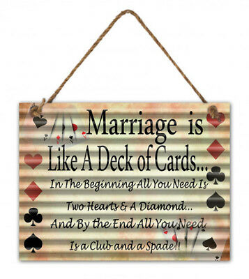 Country Tin Sign Vintage Inspired Wall Art MARRIAGE Corrugated Retro Plaque New