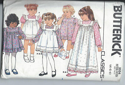 PATRON ROBE TABLIER Fille Taille 4 5 6 Ans Butterick 3554