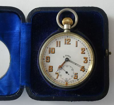 A Good Antique Large Eight Day Goliath Swiss Pocket Watch  & Travel Case, 8 Day