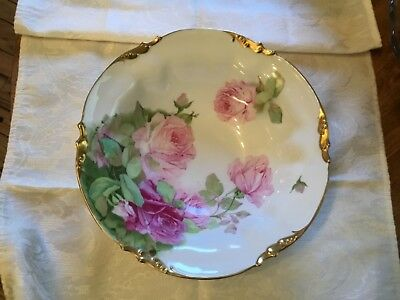 ES Germany PROV SAXE Plate Handpainted Roses - Heavy Gold trim 1902