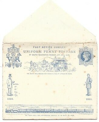 Qv Post Office Jubilee Of Uniform Penny Postage Envelope And Card Unaddressed
