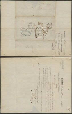 Curacao 1873 - Stampless cover to Paris France AIX