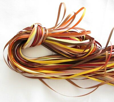 5y 50mm Mixed Yellow Peach Brown Premium Heavy Double Sided Satin Ribbon FREE PP