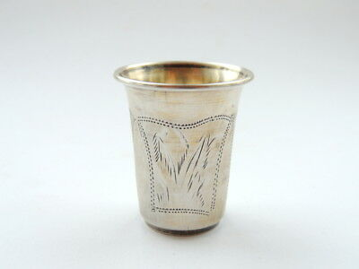 Antique Imperial Russian Sterling Silver 84 Hand Etched Wine Cup Shot Kiddush