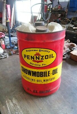 Vintage PENNZOIL 6-1/4 gallon metal can Snowmobile Gasoline Oil Can Bell Logo