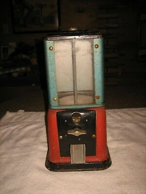 ANTIQUE 1940s VICTOR MODEL V 1 CENT CANDY CABINET GUMBALL VENDING PENNY MACHINE