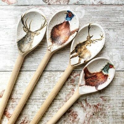 Handcrafted Decoupage Wooden Spoons Winter Country Deer & Pheasant