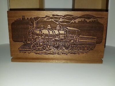 Vintage Lasercraft Laser Engraved Wooden Letter Holder With Train New in Box