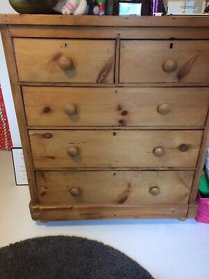 Antique Stripped Pine 4 Height Chest of Drawers