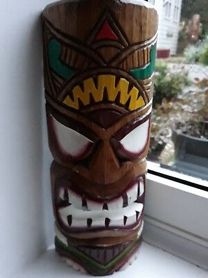 TIKI Mask Wooden Wall Plaque 12 inches high Carved & Painted..
