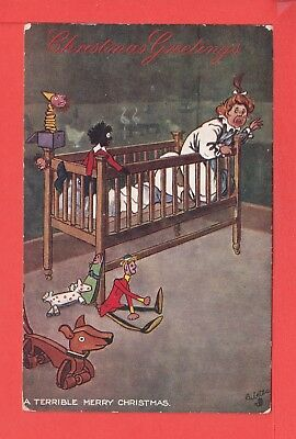 WILL OWEN Terrible Merry Christmas with toys & black doll pub TUCK 9445 c1908