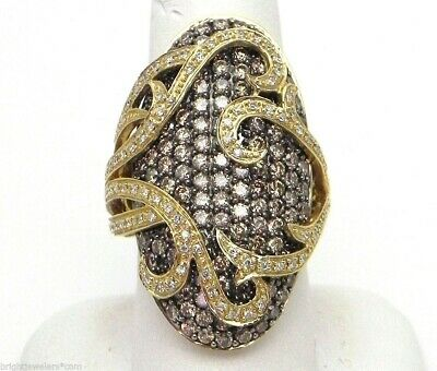 Robuste Femmes 14k or Jaune 4.10 Cts. Champagne Diamants Anneau Ovale