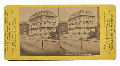 ~1879 Stereoview Residence A T STEWART NEW YORK CITY NW Corner FIFTH AVE 34th St