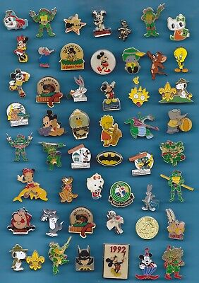LOT DE 50 PIN'S BD / DISNEY / CARTOON / DIVERS TITI BATMAN ASTERIX ++++++w3+++