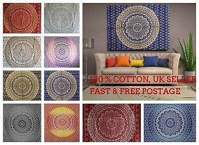 Ombre Indian Mandala Cotton Wall Hanging Tapestry Bohemian Room Decor Bedspread