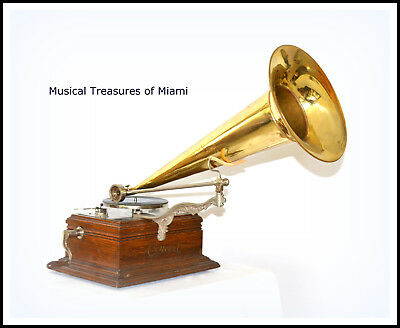 Early Zonophone Concert Model Phonograph Large Brass Horn - We Ship Worldwide