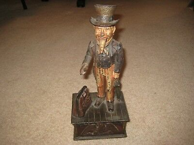 Antique Shepard Hardware Uncle Sam Bank, Cast Iron, Pat June 8, 1886