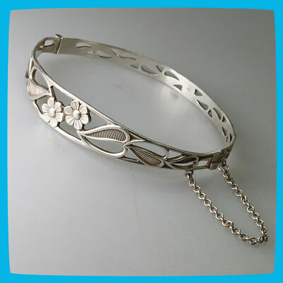 collectable old rare vintage antique Sterling Silver 925 Womens Bracelet Flowers