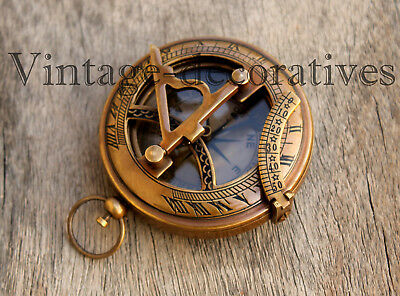 Nautical Push Button Antique Sundial Compass Vintage Brass Compass Table Top 3""