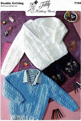Baby cardigan and sweater knitting pattern in 6 sizes, DK, Cable. BOY / GIRL.