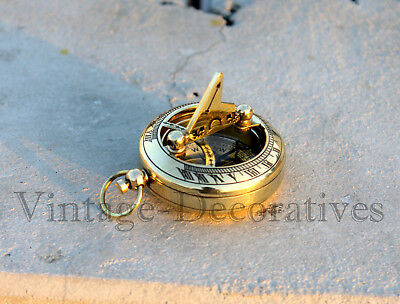 Vintage Solid Brass Sundial Compasss Handmade Marine Working Push Button Compass