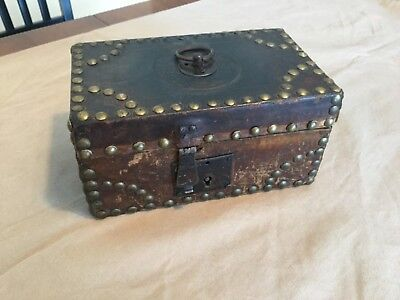 Antique Leather Box Brass Tacks Small Primitive 1700s early 1800s