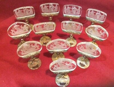 VINTAGE INTAGLIO CLEAR GLASS Place Card Holders AUSTRIAN Set of 12, 2 DESIGNS