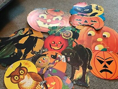 vintage halloween cardboard decorations As Is