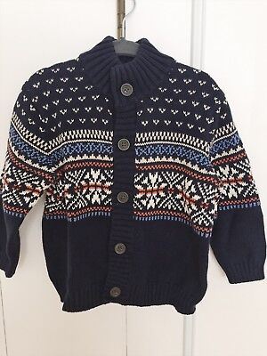 Janie And Jack Baby Boy 18-24 Months Nwt Sweater Cardigan Navy Cotton