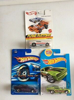 Hot Wheels lot of 3 /'71 Mustang Funny Car Flying Customs, HW City and 2005 #182