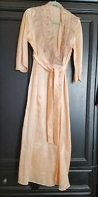 VTG 1930's PEACH PINK Satin Material LONG GLAMOR ROBE Dressing Gown Lace