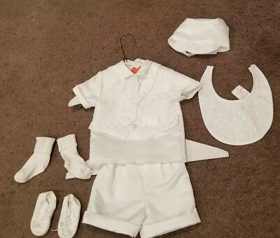 Baby Boys Christening Baptism  Outfit White 9 - 12 Mos 16-20lbs lauren Madison