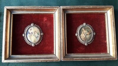 Antique Portraits Wooden Frame Velvet Victorian Ladies Metal Frame Ornate
