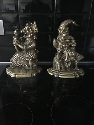 Antique Victorian Punch and Judy Door Stop Pair Heavy Brass