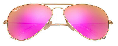 Ray Ban Aviator Cyclamen Pink Mirror Lens With Matte Gold Frame