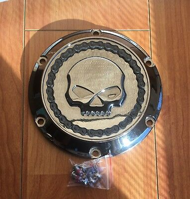 Harley Skull & Chain Jeweled Derby Cover Smokey Chrome 2004-2019 Xl Sportster