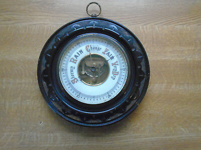 ref 001 Large Carved Oak Aneroid Barometer With Enamel Face And Bevelled Glass