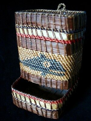 Vintage Makah Nootka Indian Cedar Basket w/ Whale - Match Holder