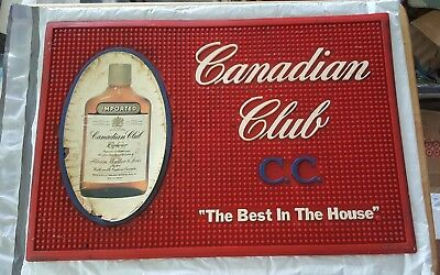 VINTAGE RARE Canadian Club Bar MAT Heavy Rubber Red Canadian Club Whisky