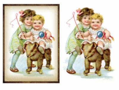 Vintage Image Nursery Victorian Children Toys Transfers Waterslide Decal KID573