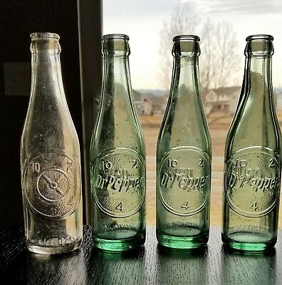 Lot Of (4) Antique Dr Pepper Bottles - 10, 2, 4 - Original Vintage