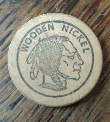 Hangtown Coins Placerville, CA Wooden Nickel Showing a Person getting hanged