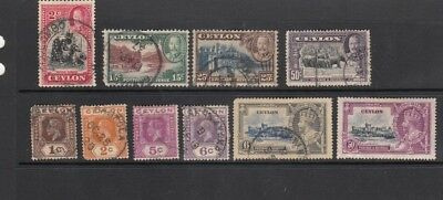Ceylon, 10 Vf/xf Used Stamps, George V. Includes Jubilees. Great Cds.