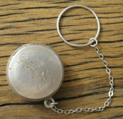 Vintage Sterling Silver PILL BOX Chatelaine Finger Purse or Charm