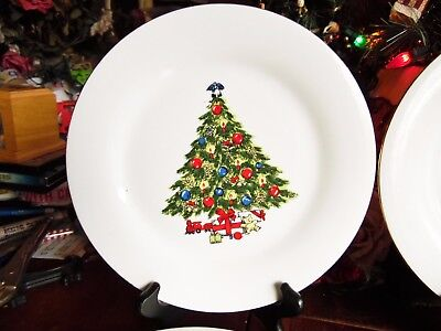 2 Christmas Tree Sea Gull Fine Porcelain China By Jian Shiang Dinner Plates