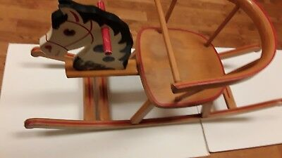 German Wooden Rocking Horse Child Herlag Vintage